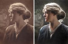 vintage portrait before after